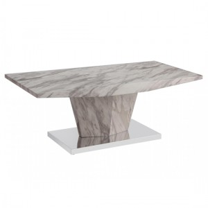 Rosebank Wooden Coffee Table In Marble Effect With Stainless Steel Base