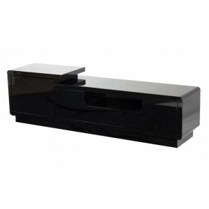 Rosedale Wooden TV Stand In Black High Gloss With Push Open Door And Drawers