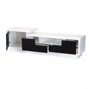 Rosedale Wooden TV Stand In White High Gloss With Push Open Door And Drawers