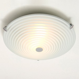 Roundel Led Frosted And Clear Glass 2 Lights Flush Ceiling Light In Chrome