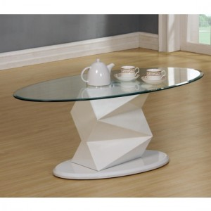 Rowley Clear Glass Coffee Table With White High Gloss Base