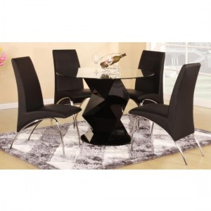 Rowley Clear Glass Dining Set With Black High Gloss Base And 4 Chairs