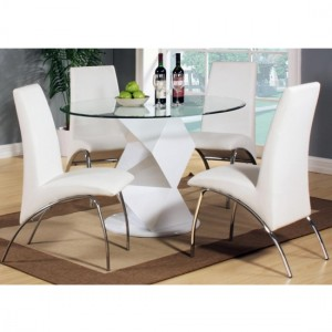 Rowley Clear Glass Dining Set With White High Gloss Base And 4 Chairs