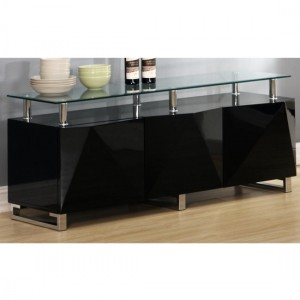 Rowley Clear Glass Top Sideboard In Black High Gloss With 3 Doors