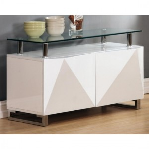 Rowley Clear Glass Top Sideboard In White High Gloss With 2 Doors