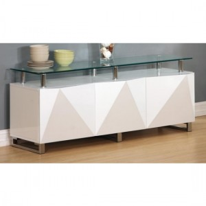 Rowley Clear Glass Top Sideboard In White High Gloss With 3 Doors