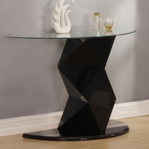 Rowley Glass Console Table With Black High Gloss Base