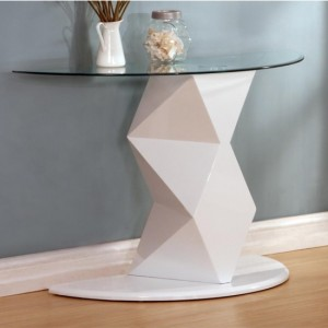 Rowley Glass Console Table With White High Gloss Base