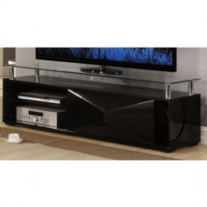 Rowley Glass TV Stand With Black High Gloss Wooden Base