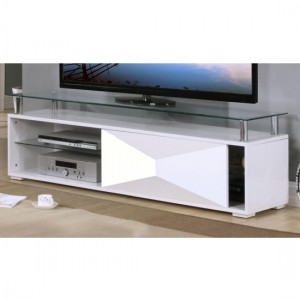 Rowley Glass TV Stand With White High Gloss Wooden Base