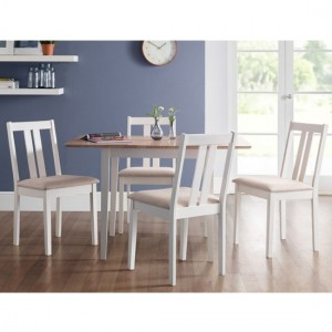 Rufford Wooden Dining Table In Oak And White With 4 Chairs