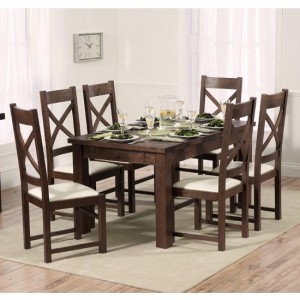 Rustique Extending Dining Table Dark Oak With 8 Cream Canterbury Chairs