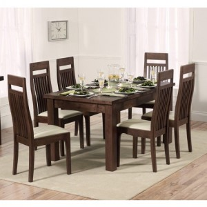Rustique Extending Dining Table In Dark Oak With 8 Cream Monte Carlo Chairs