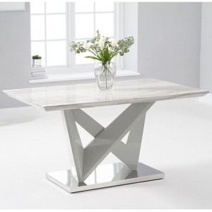 Kelsey High Gloss Marble Effect Dining Table In Light Grey