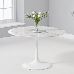 Celine Round Marble Table In White Gloss With Pedestal Base
