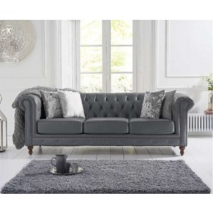 Concetta 3 Seater Sofa In Grey Leather With Dark Ash Legs