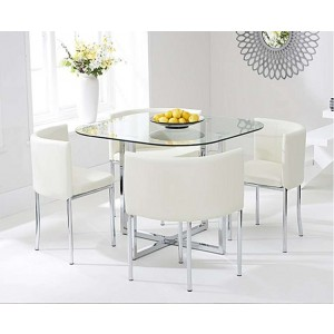 Charisma Stowaway Dining Set With 4 Cream Dining Chairs