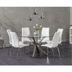 Casa Round Clear Glass Dining Table With 4 Ramet White Dining Chairs