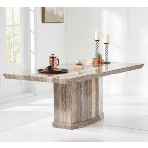Carvelle Marble Dining Table Rectangular In Brown