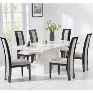 Carvelle Marble Dining Table In White With Six Elbani Dining Chairs