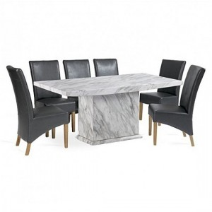 Phoenix Marble Effect Dining Table With Six Choe Dining Chairs