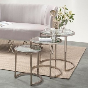 Sachi Glass Nest Of Tables In Antique Silver Strainlees Steel Frame