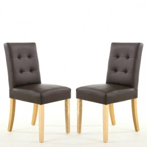 Sadler Matt Brown Faux Leather Dining Chairs In Pair With Natural Legs