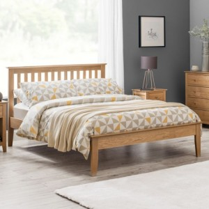 Salerno Shaker Wooden Double Bed In Solid White Oak