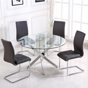 Samurai Large Clear Glass Dining Set With 4 Grey PU Chairs