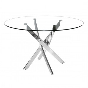 Samurai Round Clear Glass Dining Table With Chrome Metal Legs