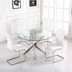 Samurai Small Clear Glass Dining Set With 4 White PU Chairs