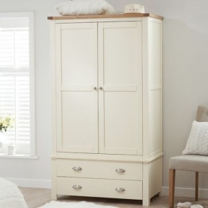 Sandringham 2 Doors Wardrobe In Oak And Cream With 2 Drawers