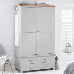 Sandringham 2 Doors Wardrobe In Oak And Grey With 2 Drawers