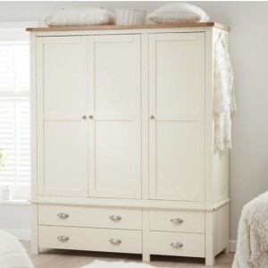 Sandringham 3 Doors Wardrobe In Oak And Cream With 4 Drawers