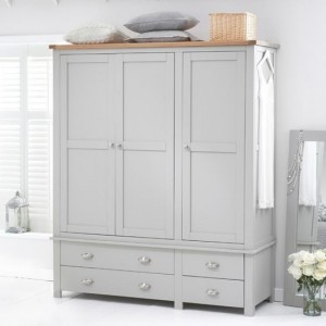 Sandringham 3 Doors Wardrobe In Oak And Grey With 4 Drawers