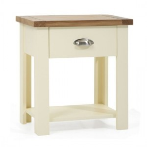 Sandringham Bedside Table In Oak And Cream With 1 Drawer