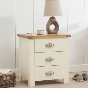 Sandringham Bedside Table In Oak And Cream With 3 Drawers