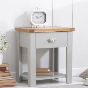 Sandringham Bedside Table In Oak And Grey With 1 Drawer