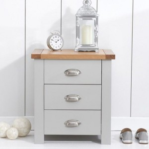 Sandringham Bedside Table In Oak And Grey With 3 Drawers