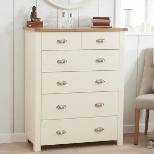 Sandringham Chest Of Drawers In Oak And Cream With 6 Drawers
