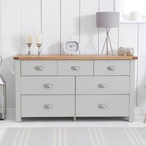 Sandringham Chest Of Drawers In Oak And Grey With 7 Drawers