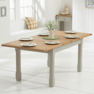 Sandringham Extending Wooden Dining Table In Oak And Grey