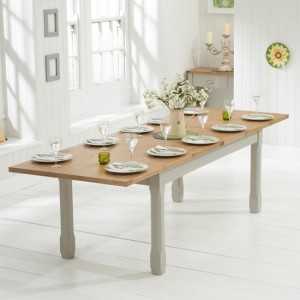 Sandringham Large Extending Wooden Dining Table In Oak And Grey