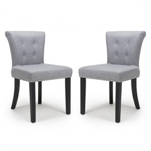 Sandringham Silver Grey Linen Effect Accent Chair In Pair