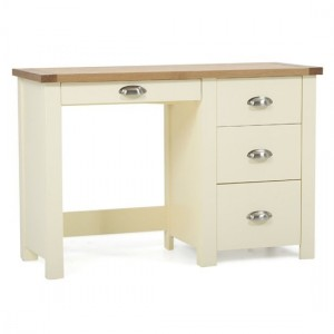 Sandringham Single Pedestal Dressing Table In Oak And Cream