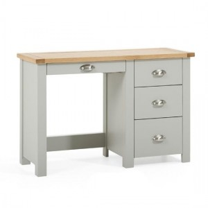 Sandringham Single Pedestal Dressing Table In Oak And Grey