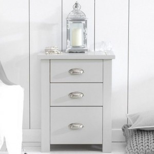 Sandringham Tall Wooden Bedside Table In Grey With 3 Drawers