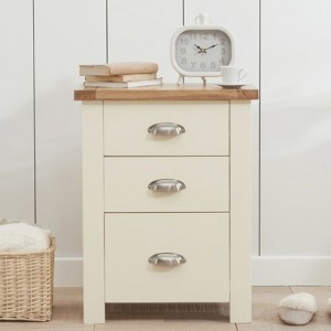 Sandringham Tall Bedside Table In Oak And Cream With 3 Drawers