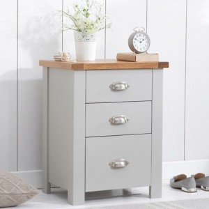 Sandringham Tall Bedside Table In Oak And Grey With 3 Drawers