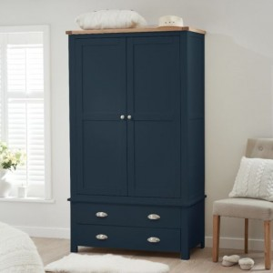 Sandringham Wooden 2 Doors And 2 Drawers Wardrobe In Oak And Blue